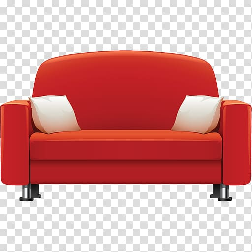 Red sofa with two white throw pillows, Table Furniture Couch Chair .