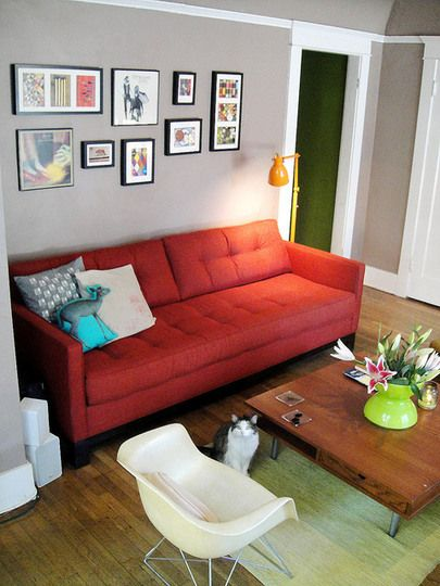 Small Space Solution: Pick A Colorful (Try Orange!) Couch | Red .