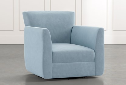 Revolve Light Blue Swivel Accent Chair | Living Spac