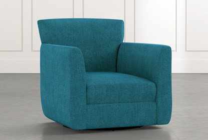 Revolve Teal Swivel Accent Chair | Living Spac