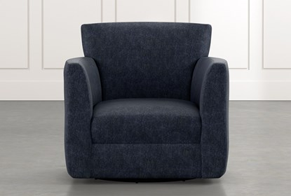 Revolve Navy Blue Swivel Accent Chair | Living Spac