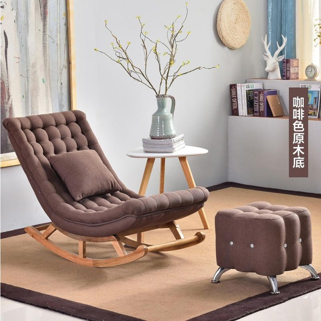 Nordic simple rocking chair living room leisure lounge chair .