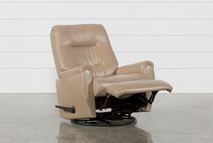 Rogan II Leather Cafe Latte Swivel Glider Recliner | Living Spac