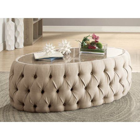 Furniture of America Racquelle Button Tufted Faux Marble Top Round .