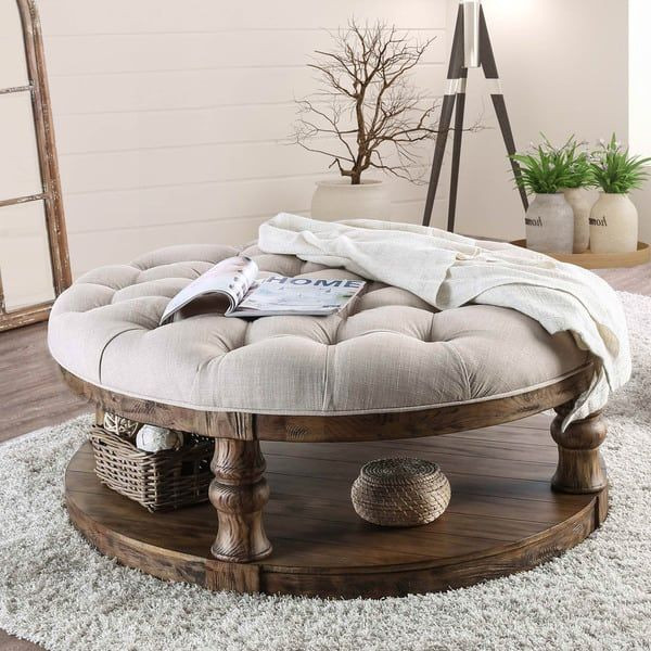 Furniture of America Patterson Rustic Button Tufted Coffee Table .