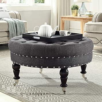Amazon.com: 24KF Large Round Upholstered Tufted Button Linen .