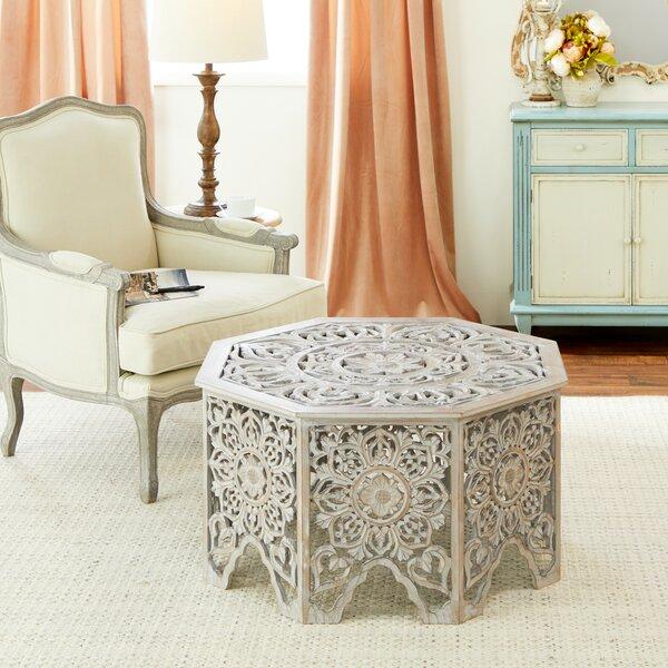 Carved Wood Coffee Table Round | Wayfa