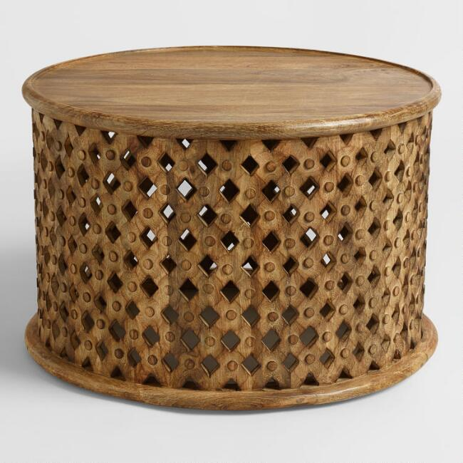 Round Tribal Carved Wood Coffee Table | World Mark