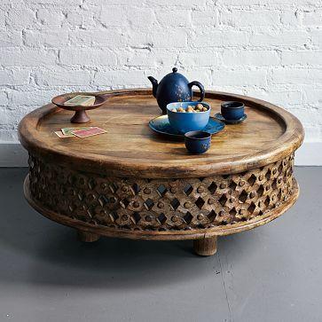 Carved Wood Coffee Table | Mango wood coffee table, West elm .
