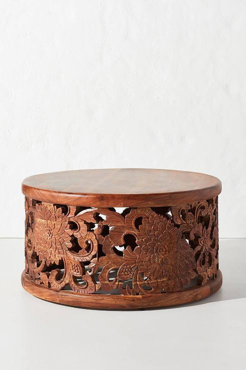 Round Handcarved Lotus Coffee Tab