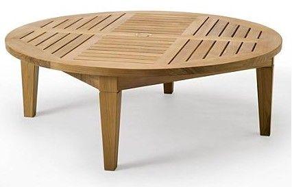 teak coffee table with umbrella hole | Teak Sack Round Table (48 .
