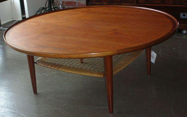 round danish teak coffee table cane shelf | Teak coffee table .