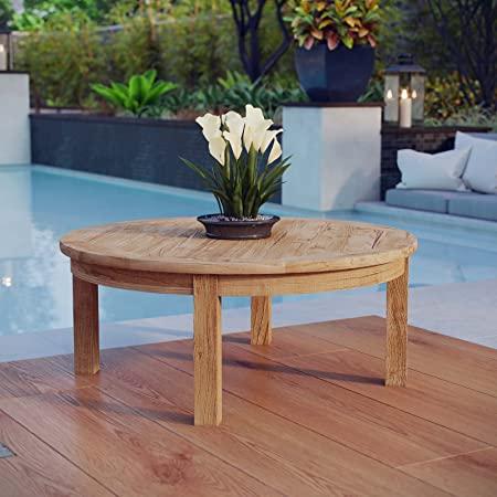 Amazon.com: Modway Marina Teak Wood Outdoor Patio Round Coffee .