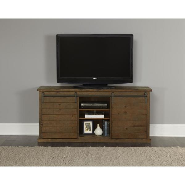 Progressive Furniture Huntington 64 in. Distressed Pine Wood TV .