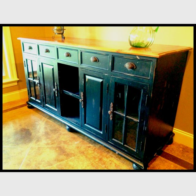 Custom made buffet by Lucien Old pine top With black distressed .