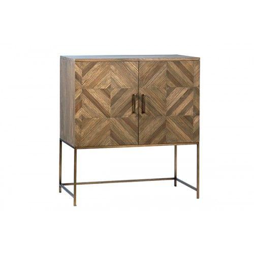 Reclaimed Wood & Metal Base Geometric Diamond Design Small .