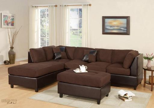 Sacramento Chocolate Microfiber Sectional Sofa with Reversible .