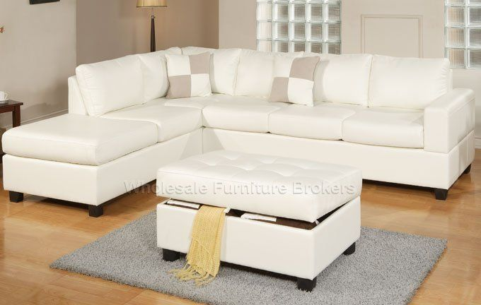 Sacramento White Cream Leather Sectional Sofa with Left Facing .