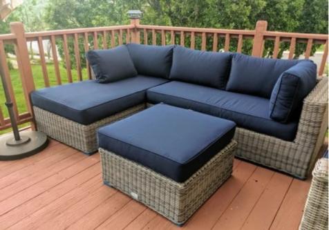 Luxury outdoor patio furniture sectional sofa w/Sunbrella Fabric .