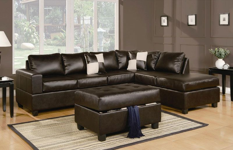 Sacramento Bonded Leather Sectional with Reversible Chaise and .