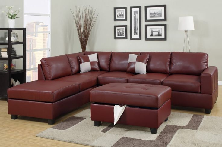 Sacramento Red Burgundy Leather Sectional Sofa with Left Facing .