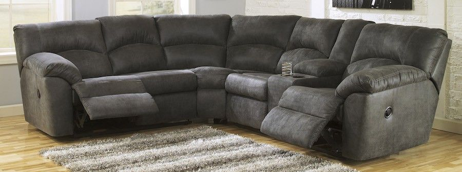 Soft 2 Piece Reclining Sectional in Grey | Reclining sectional .