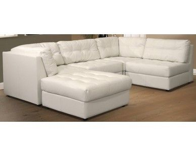 5 Piece Leather Sectional - White - Sam Levitz Furniture | Leather .