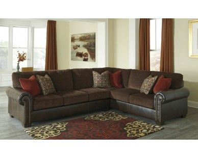 Traditional Two Tone 2 Piece Sectional - Dark Brown - Sam Levitz .