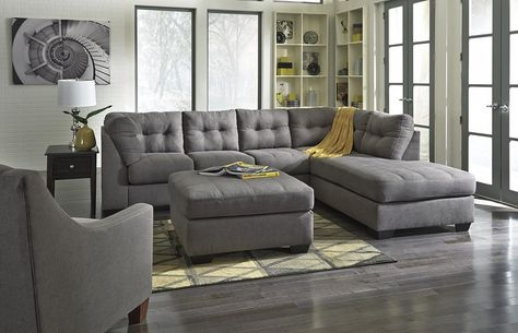 2 Piece Contemporary Sectional in Grey - Sam Levitz Furniture .
