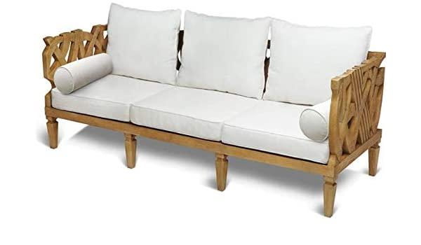 Amazon.com: Sofa SCARBOROUGH HOUSE 3-Seater Ivory Brushed Oak .