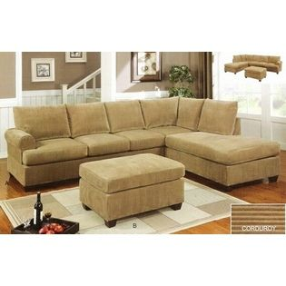 2 pc Tan corduroy suede fabric upholstered reversible sectional .