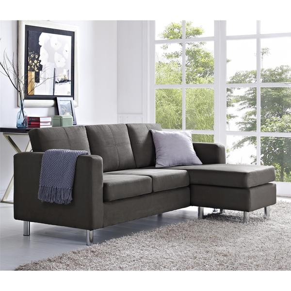 Shop Dorel Living Small Spaces Grey Microfiber Configurable .