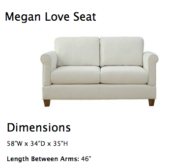 Love Seat. Good size for a small space. Comes with a huge choice .