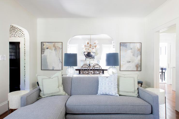 Gray Sofa with Chaise Lounge and Green Pillows - Transitional .
