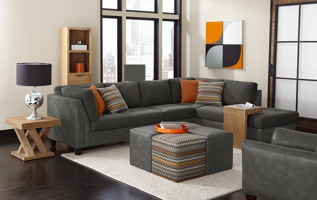 top hat sectional living room in chocolate media image 1. all .