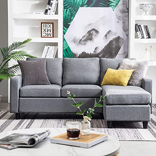 Amazon.com: HONBAY Reversible Sectional Sofa Couch 3-seat Couch .