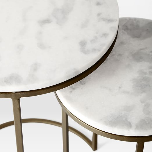 Marble Round Nesting Side Table (Set of