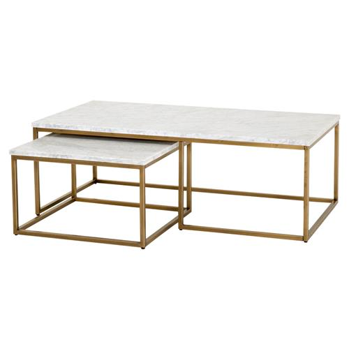 Carol Modern Classic White Marble Top Brushed Gold Nesting Coffee .
