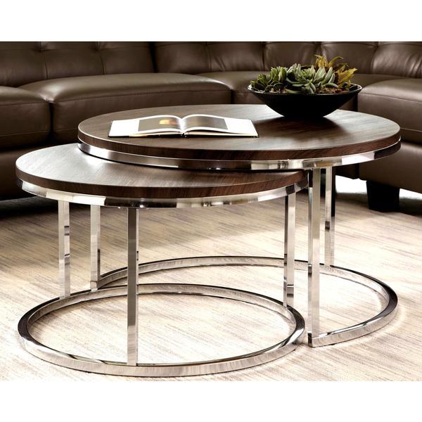 Shop Mergot Modern Chrome 2-piece Cocktail Round Nesting Table Set .