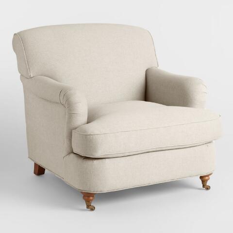 Oatmeal English Roll Arm Shelton Chair | World Mark