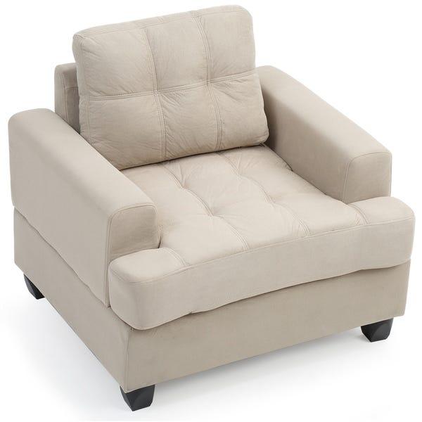 Shop LYKE Home Sheldon Vanilla Microsuede Chair - Overstock - 280220