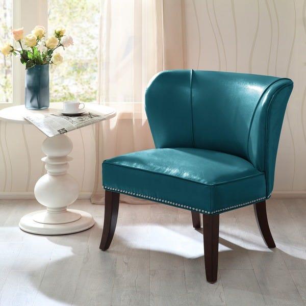 Shop Madison Park Sheldon Blue Concave Back Armless Chair - On .