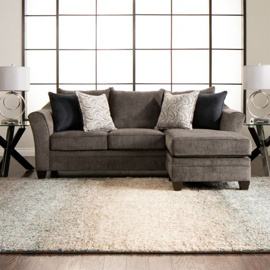 Simmons Upholstery Albany Pewter Sofa Chaise - Mattress King Of .