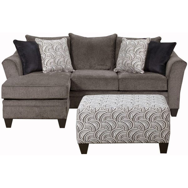 Shop Simmons Upholstery Albany Pewter Sofa Chaise - Overstock .