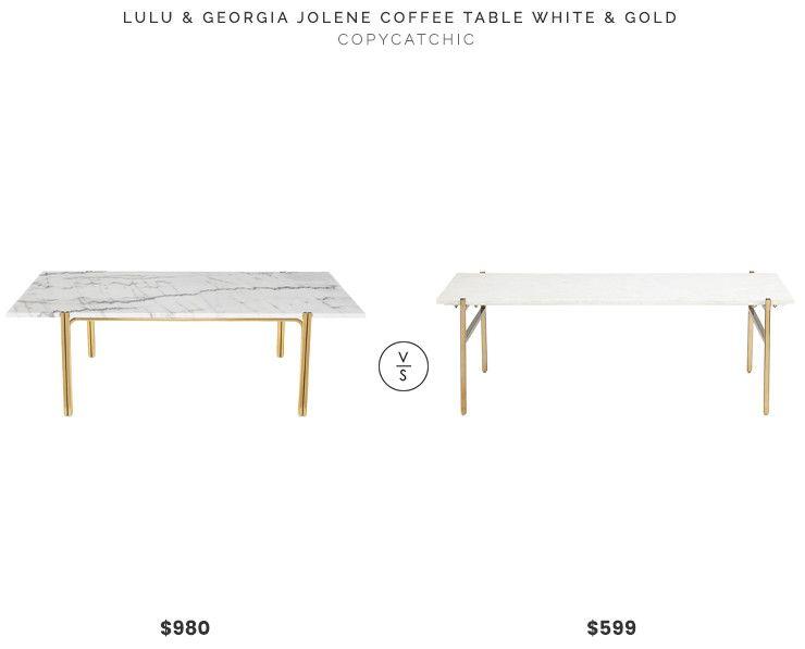Lulu & Georgia Jolene Coffee Table, White and Gold $980 vs. CB2 .