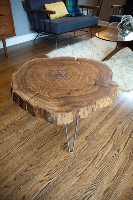 Wood Sliced Turned Into A Top For Coffee Table | Natural wood .