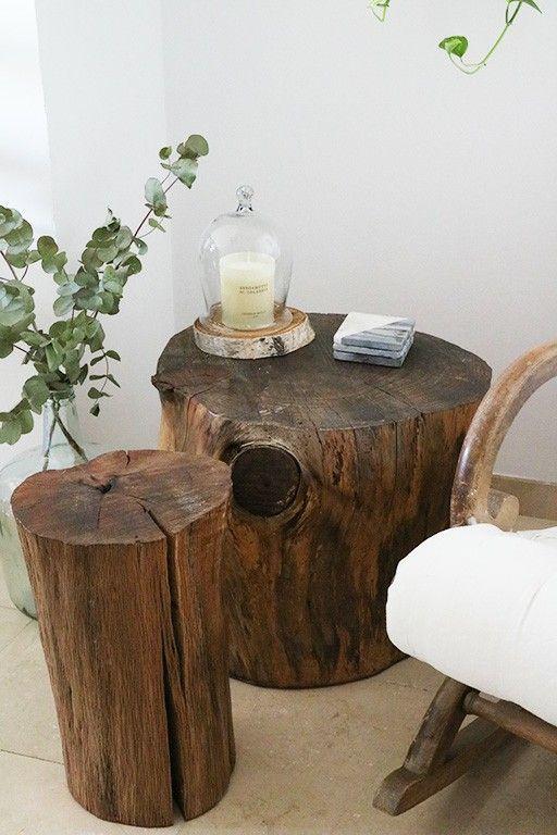 Reclaimed wood tree trunk/stump side/coffee tables | Tree trunk .