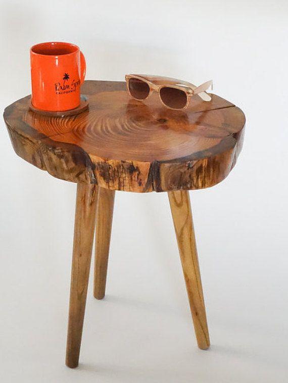 Rustic pine tree table, tree trunk table, log slice table, live .