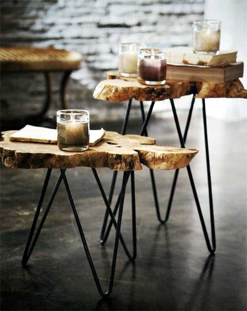 So organic! Albion Burl Slice Tables $250 | Trunk end table .