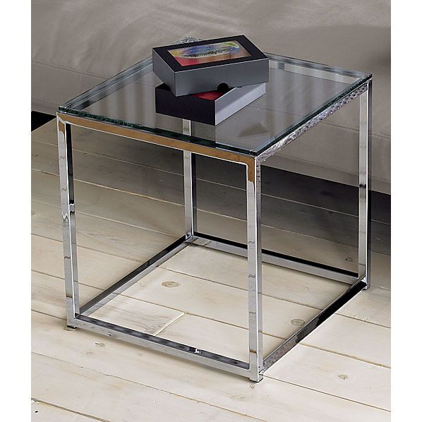 """$149.00 smart glass top side table Dimensions: 17.75""""Wx17.75""""Dx19 ."""